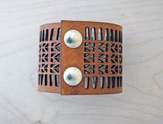 Arrow Lasercut Leather Cuff Bracelet, Tan by CurareSweets | Etsy, $35.00