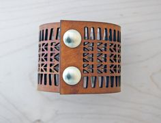 Arrow Lasercut Leather Cuff Bracelet, Tan by CurareSweets | Etsy, $35.00