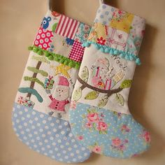 Christmas stockings - Oh!  I love the unexpected fabric