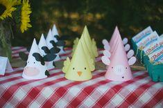 Sombreros de fiesta imprimibles granja por PrintsForEvents en Etsy