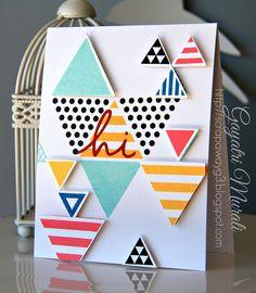 Trendy Triangles, Happy Hellos Die-namics, Triangles DIe-namics - Gayatri Murali #mftstamps