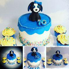 Beanie Boo Tracey the dog cake with matching sprinkle cupcakes Sprinkle Cupcakes, Beanie Boos, Sprinkles, Cute Animals, Birthday Cake, Treats, Dog, Desserts, Pretty Animals