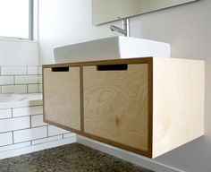 A simplistic wall hung Birch Plywood bathroom vanity unit with open routed drawer pulls. A clean counter top basin sits cleanly on top of the vanity unit. Wall hung vanity's units create a sense of space as they sit off the floor. Plywood Interior, Plywood Furniture, Diy Furniture, Furniture Design, Bathroom Renos, Bathroom Interior, Small Bathroom, Bathroom Cabinets, Plywood Cabinets