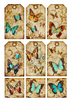 Sheet tags Butterfly   Sheets   Nostalgie & Brocante