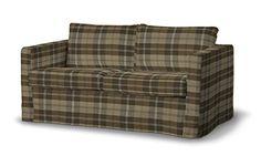 Dekoria Fire Retarding Ikea Floor length Karlstad 2-seater sofa cover - brown & beige tartan