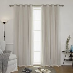 Aurora Home Mix & Match Blackout and Sheer Tulle Lace 4-piece Curtain Panel Pair