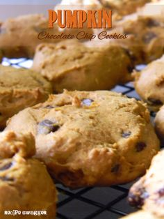 Pumpkin Chocolate Chip Cookies. Made these for a party on 09/28/13 and they were a hit. I need to make sure I flatten them a little next time so they look more like cookies and less like cake bites.