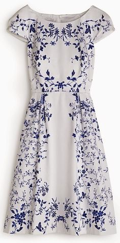 Blue and white Printed Dress