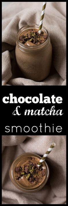 Re-energize with a creamy and decadent Chocolate Matcha Smoothie. Full of good, real food but tastes like dessert. Vegan, refined sugar free via @wholefoodbellies