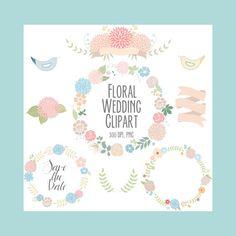 Floral clipart, wedding clipart, Digital Wreath,  Flowers, Ribbons, birds, laurel on Etsy, $4.59