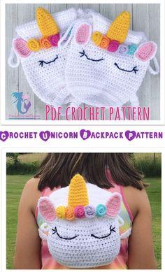 Unicorn Backpack pattern by Crochet Diy, Crochet Gifts, Crochet For Kids, Simple Crochet, Crochet Ideas, Crochet Handbags, Crochet Purses, Purse Patterns, Crochet Patterns