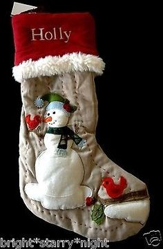 Pottery Barn Kids Christmas Woodland Linen Snowman Stocking Holly New | eBay