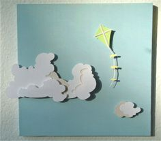 Paper Cut Silhouette Kite and Clouds: Art for Nursery, Art for Childrens Room, Room Decor. $25.00, via Etsy.