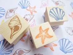Sea stamps, Summer wedding decoration, Clam shell stamp, Star fish, Handmade card, Scrap booking