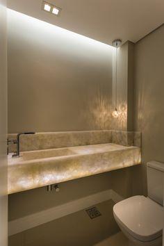 Bancada em onix lavabo construtora AMC 3 dormitórios, sendo 2 ou 3 suítes