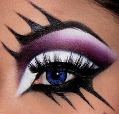 Added By Jocelyn Fisher. Black white and Plum Eye make-up Would be cool for a Halloween costume Drag Queen Makeup, Drag Makeup, Makeup Eyes, Fun Makeup, Awesome Makeup, Cheap Makeup, Makeup Kit, Makeup Brushes, Beauty Makeup