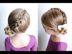 Pull Through Braid Diagonal Messy Bun | Q's Hairdos - YouTube