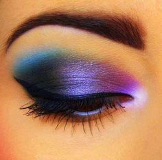 make up tutorial, makeup eyes, eyeshadow, blue eye makeup, beauti, rainbow, bold colors, galaxi, eye makeup tutorials