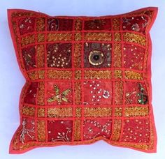 indian Handmade Patchwork cotton Cushion Cover Home Decor Pillow Cases KH094 #Handmade #Ethnic
