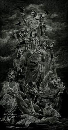 It´s Love, not reason, that is stronger than Death madness-and-gods: Skull poster by Julien Lemoine Demon Art, Arte Horror, Horror Art, Dark Fantasy Art, Grim Reaper Art, Dark Art Tattoo, Satanic Art, Evil Art, Skull Illustration