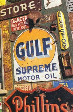 plucky recyclers of old stuff. Car Signs, Neon Signs, Vintage Advertisements, Vintage Ads, Old Gas Pumps, Gas Service, Old Gas Stations, Custom Garages, Street Signs