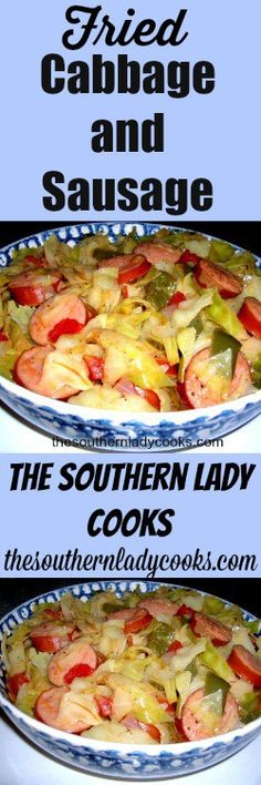 This is a quick and easy dish and makes a meal served with my recipe for Southern Cornmeal Hoecakes or Fried Cornbread 1 stick butter or small head of cabbage, small green peppe… Recipe For Southern Fried Cabbage, Fried Cabbage With Sausage, Fried Cabbage Recipes, Cooked Cabbage, Southern Recipes, Pork Recipes, Cooking Recipes, Healthy Recipes, Skillet Recipes