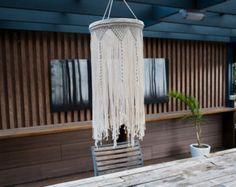 Large Macrame Hang Lamp / Cotton / Modern Makrame / Home Deco / Boho / Wall Art / Minimalistic / Pendant Light