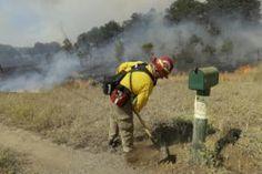 A fireman works a back fire along Morgan Valley Road…