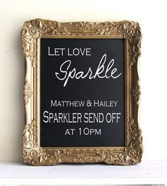 Framed Chalkboard Wedding Sign With Easel Sign Antique Gold Bar Menu Drink Menu…