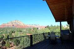 View of Giant Sedona Red Rocks from Deck - 203 Bristlecone Pines Rd, West Sedona, Listed with Rob Schabatka from RE/MAX Sedona.