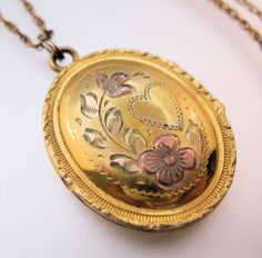Vintage 12k Gold Fill Oval Locket Two Tone Gold Signed C.Q.&R. Jewelry Pendant Necklace FREE SHIPPING