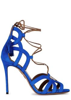 Aquazzura cobalt blue suede sandals  Heel measures approximately 4.5 inches/ 105mm  Cut-out, open toe  Tasselled�lace-up front