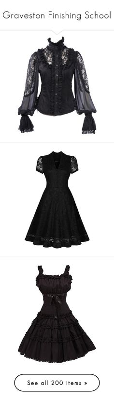 """Graveston Finishing School"" by steampoweredgoth ❤ liked on Polyvore featuring tops, blouses, cotton blouse, gothic blouse, goth top, gothic tops, lace insert top, dresses, short-sleeve dresses and short sleeve midi dress"
