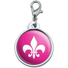 Chrome Plated Metal Small Pet ID Dog Cat Tag Fleur de Lis Symbol - Pink ** Click on the image for additional details. (This is an affiliate link) #IDTags