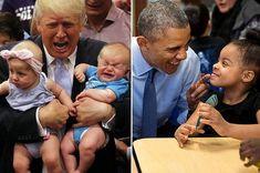 21 Pictures Of Donald Trump With Kids Vs. Barack Obama With Kids Obama Meme, Obama Funny, Barrack And Michelle, Michelle Obama, Obama With Kids, Young Obama, Donald Tramp, Moderne Couch, Donald Trump Pictures