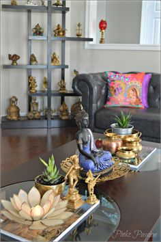 Splendid Buddha peaceful corner zen home decor interior styling console decor Buddha decor Buddha love on the table brass artifacts Indian home decor coffee table styling coffee tabl . Buddha Home Decor, Zen Home Decor, Ethnic Home Decor, Asian Home Decor, Zen Bedroom Decor, Buddha Living Room, Zen Living Rooms, Modern Living, Decorating Coffee Tables