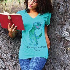 Thesaurus Rex Vneck Tee – ommasana / dinosaur / pun / trex / reading / hipster