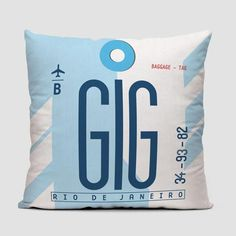 Throw pillow inspired on vintage travel luggage tags from Rio de Janeiro - Galeão Intl Airport. IATA code GIG.
