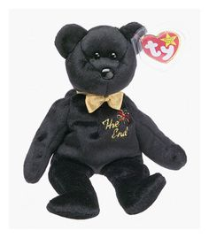 Ty Beanie Babies The End Bear Retired Black Teddy Bear 2fa134cb315