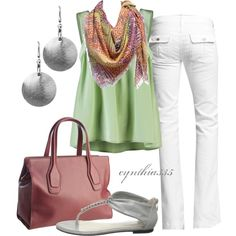 """I LOVE her choice of colors! """"Cute Summer Outfit"""" by cynthia335 on Polyvore"""