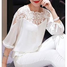 Women s Stylish Lace Splice 3 4 Sleeve Jewel Neck Blouse (£10) ❤ liked on Polyvore featuring tops, blouses, lace blouse, lacy white top, white blouse, jewel neck top and lacy white blouse