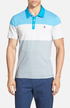 Men's Original Penguin Stripe Colorblock Polo