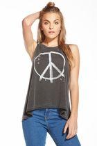 Chaser LA Peace Riot Jersey Flounce Tank in Vintage Black