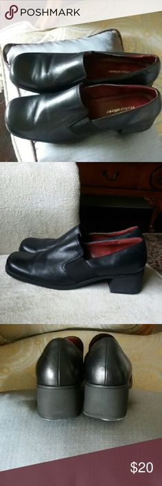 Shoes Black loafers. leather upper. Rubber sole and rubber stack heel. Made in Brazil. Heel guards added. Great shoe for work. Will look great with your tailored pants. Naturalizer Shoes Flats & Loafers