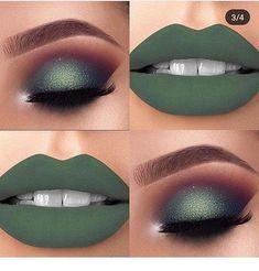 Nice green makeup style Nice green makeup style – Das schönste Make-up Gorgeous Makeup, Pretty Makeup, Eyeshadow Makeup, Lip Makeup, Fall Eyeshadow, Green Eyeshadow, Clown Makeup, Gold Makeup, Skull Makeup