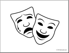 Clip Art: Comedy and Tragedy Masks 1 (coloring page) - preview 1