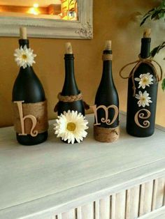 Recycled wine bottles, chalk paint and decor
