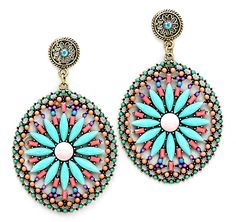 Amria Statement Earrings in Turquoise on Emma Stine Limited