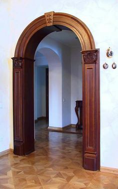Another trim package I like Home Interior Design, Interior And Exterior, Interior Decorating, Wooden Door Design, Wooden Doors, Arched Doors, Windows And Doors, Wood Arch, Arch Doorway