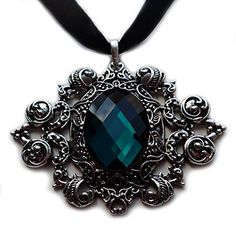 Gothic Black Ribbon Choker Antiqued Silver Pendant: Dark Teal * Click image to review more details. (Amazon affiliate link)